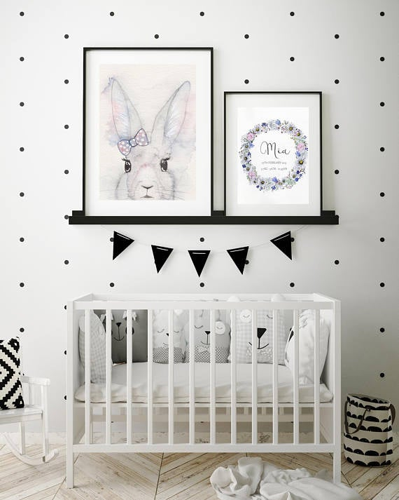 Nursery Decor, Whimsical Wall Art Print - A Bunny And Her Bow - Petit Luxe Bebe