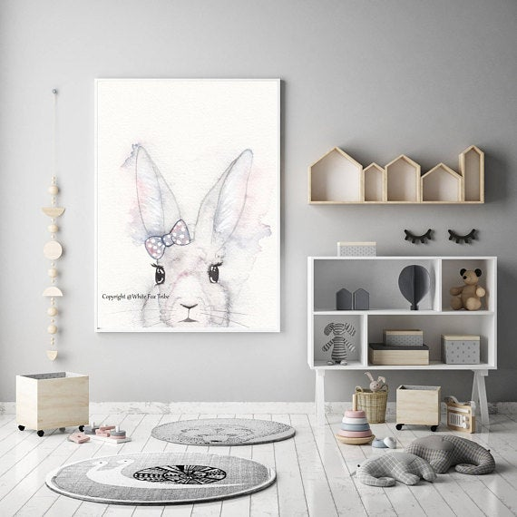 Nursery Decor, Whimsical Wall Art Print - A Bunny And Her Bow