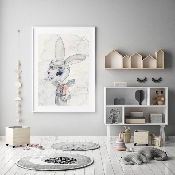 Nursery Decor, Whimsical Wall Art Print - Phillip - Petit Luxe Bebe