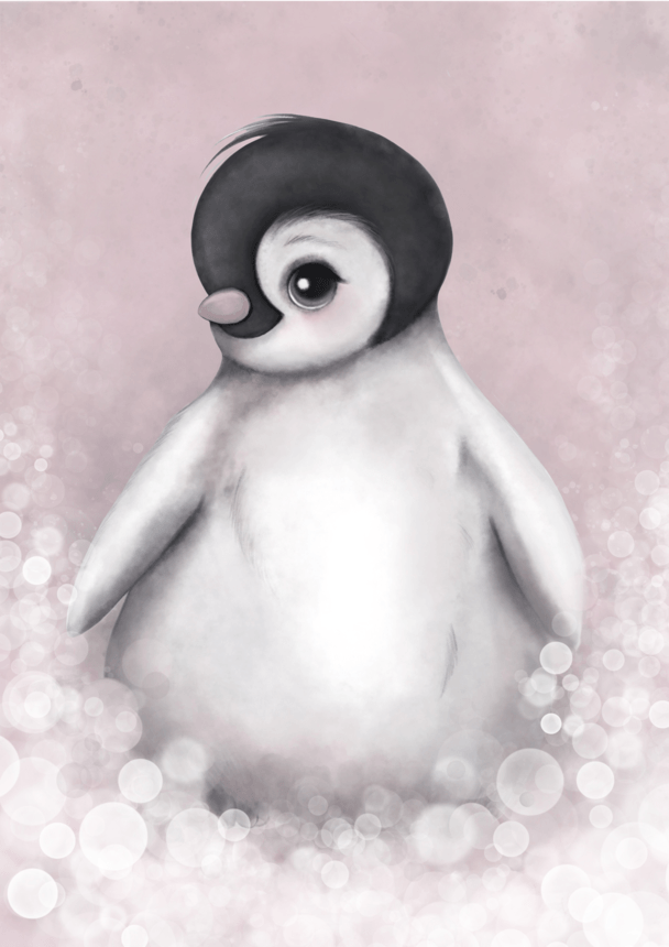 Romeo The Baby Penguin Nursery Art Print - Petit Luxe Bebe