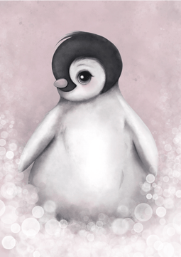 Romeo The Baby Penguin Nursery Art Print