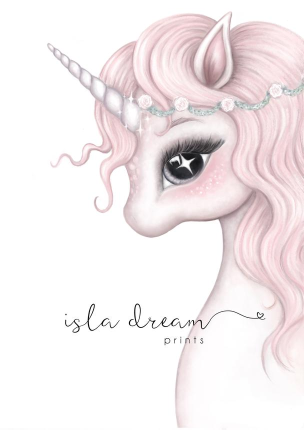 ROSA The Unicorn - Whimsical Art Print - Petit Luxe Bebe