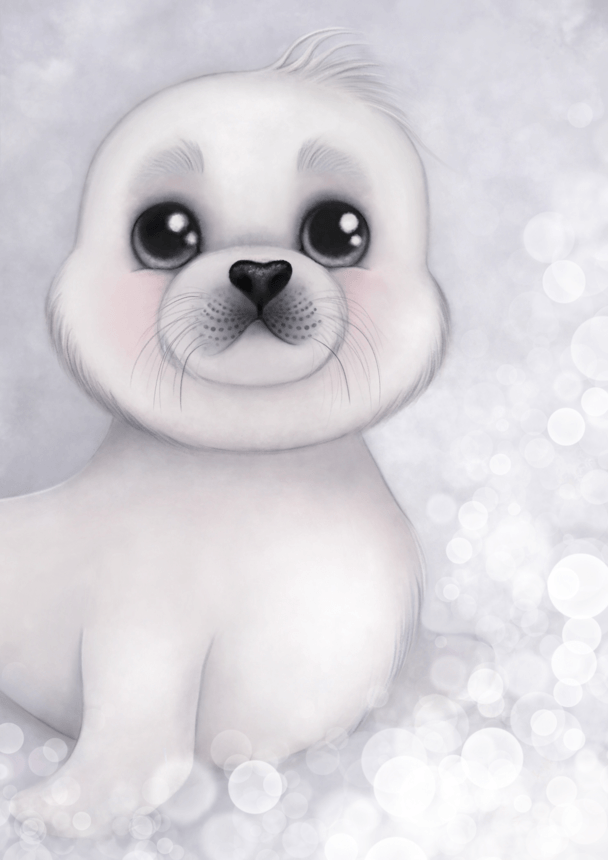Sid The Harp Seal Nursery Art Print - Petit Luxe Bebe
