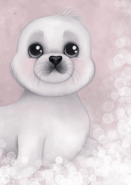 Sid The Harp Seal Nursery Art Print