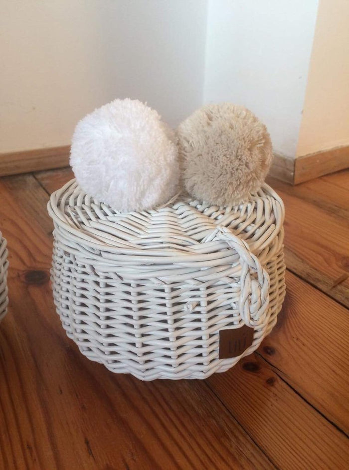 Small Wicker Storage Basket - White