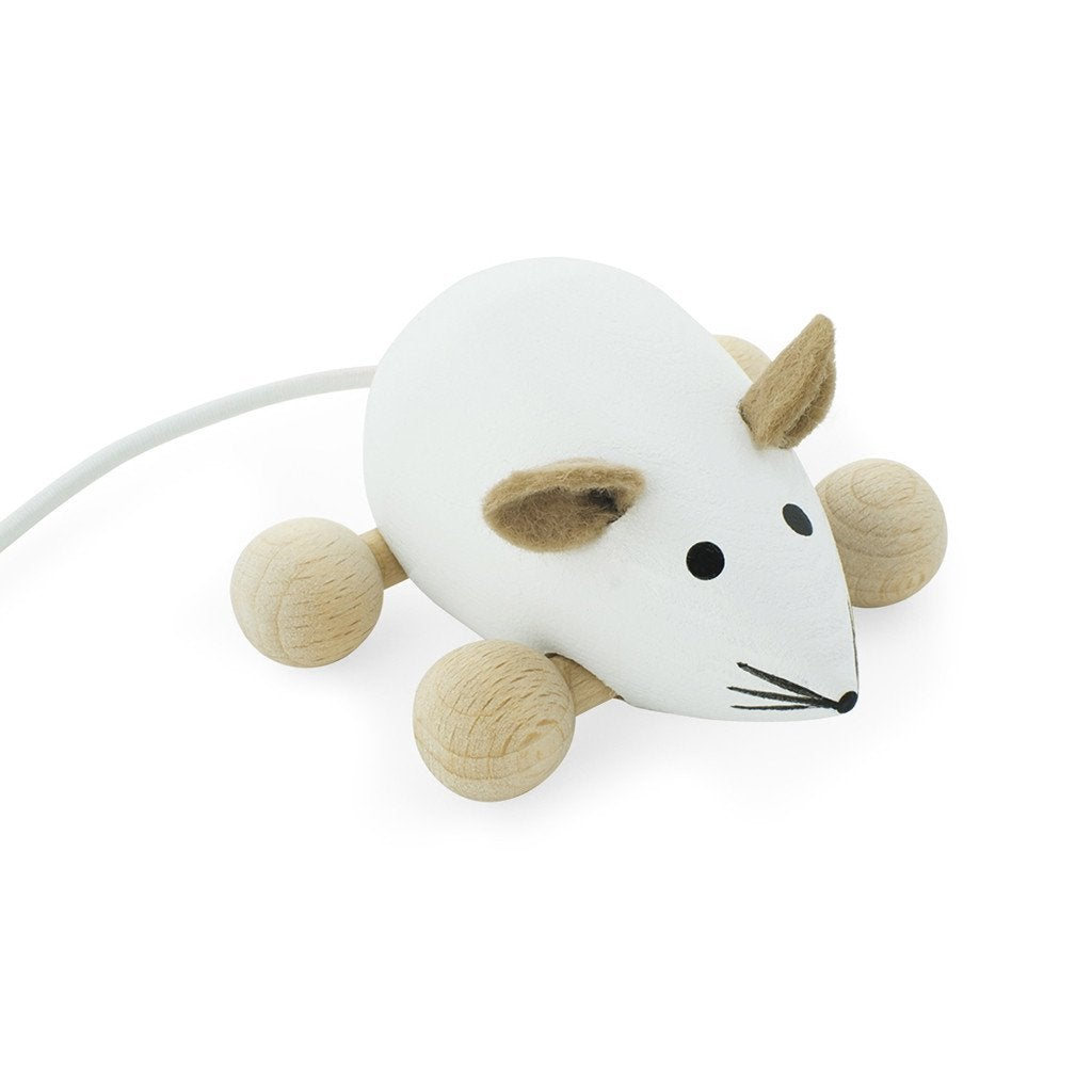 Snowflake - Wooden Push Along Mouse Toy - Petit Luxe Bebe