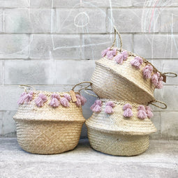 Large Seagrass Tassel Basket - Dusty Pink