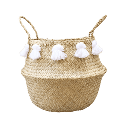 Large Seagrass Tassel Basket - White