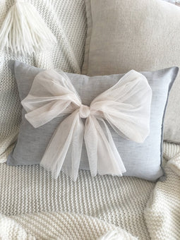 Custom Tulle Bow Cushion