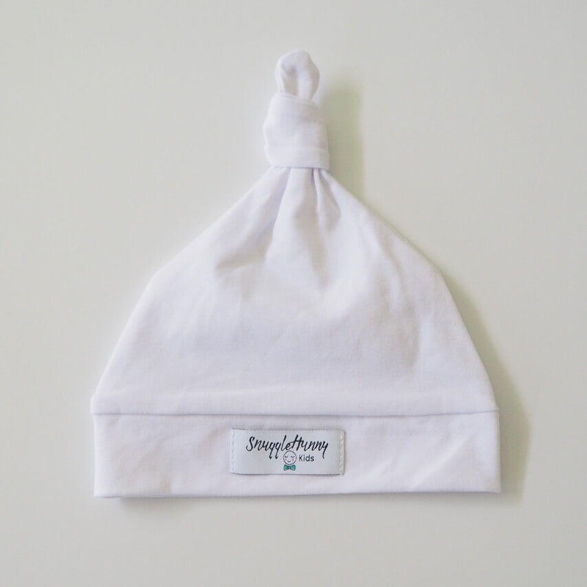 White Knotted Baby Beanie - Petit Luxe Bebe