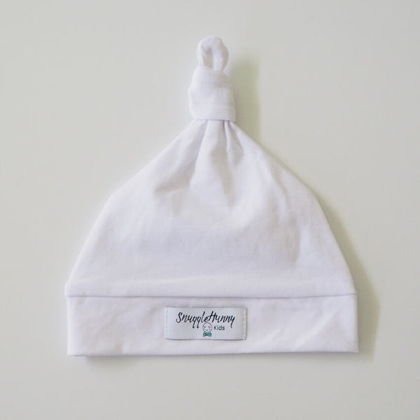 White Knotted Baby Beanie