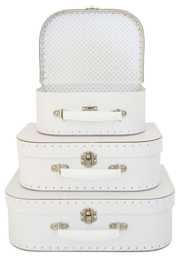 Kids Carry Suitcase Set - White & Grey - Petit Luxe Bebe