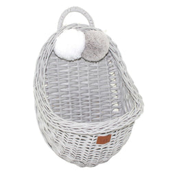 Wicker Wall Storage Basket - Grey