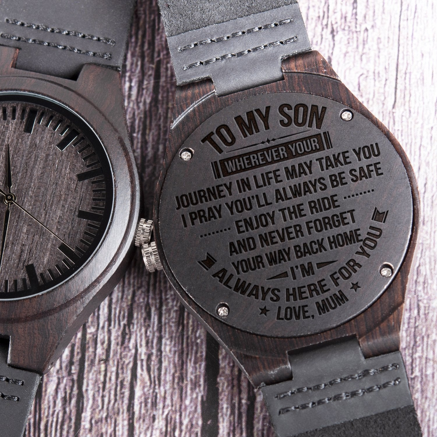28ae856cf2fe Mum To Son Wood Watch Gift- Way Back Home FREE SHIPPING - Unidoni