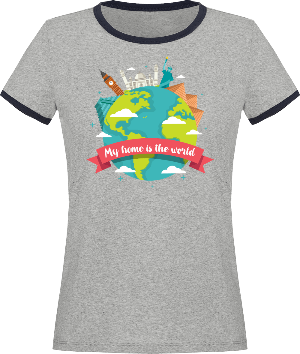 T-shirt Femme Coton Bio My Home is the world