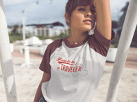 T-shirt Femme Baseball Born  to be a traveler