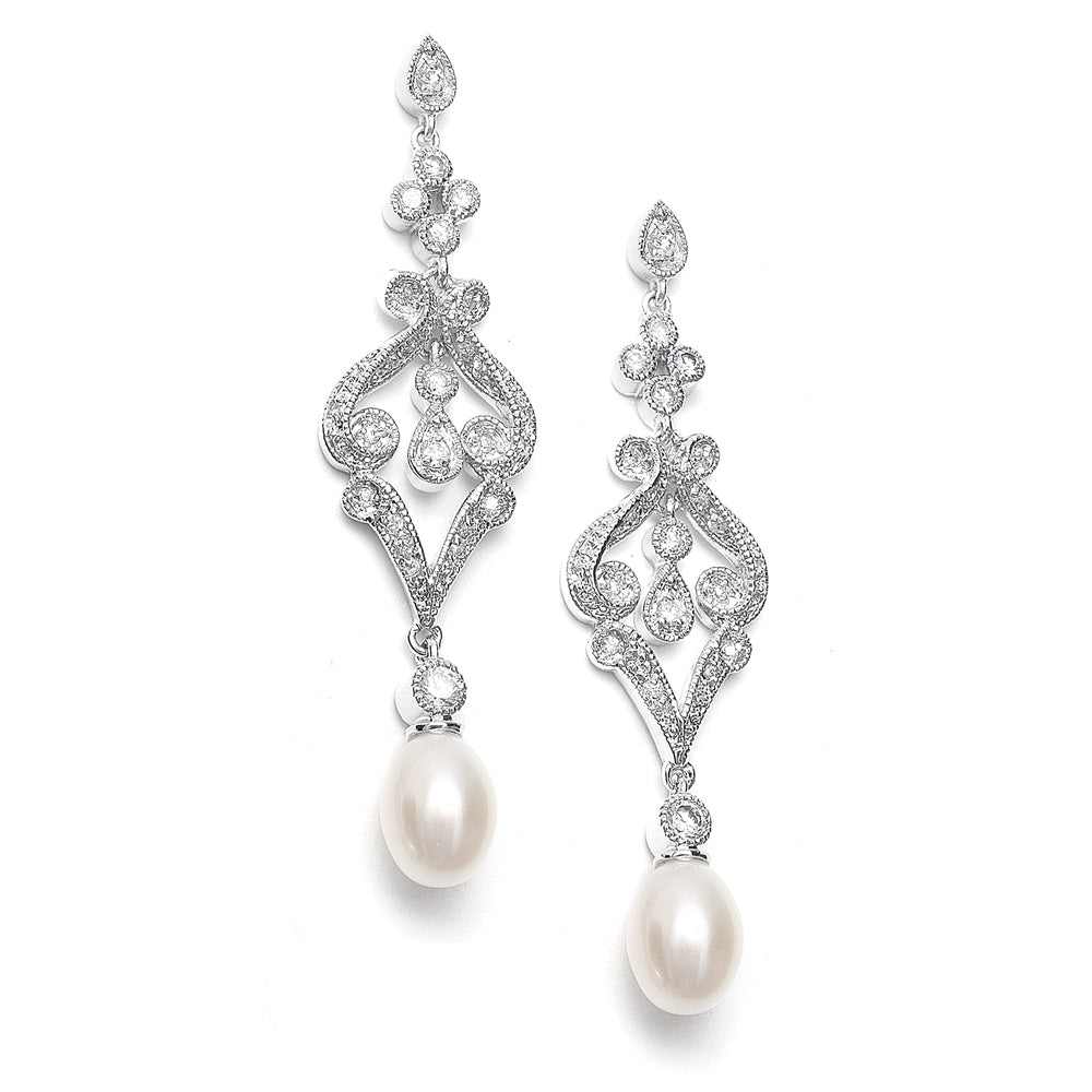 Vintage Style Pearl Drop Earrings - JBP