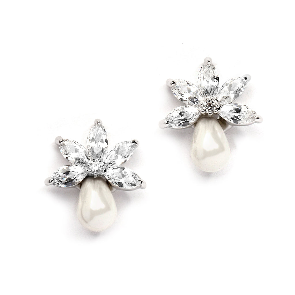 Demure White Pearl And CZ Stud Earrings - JBP