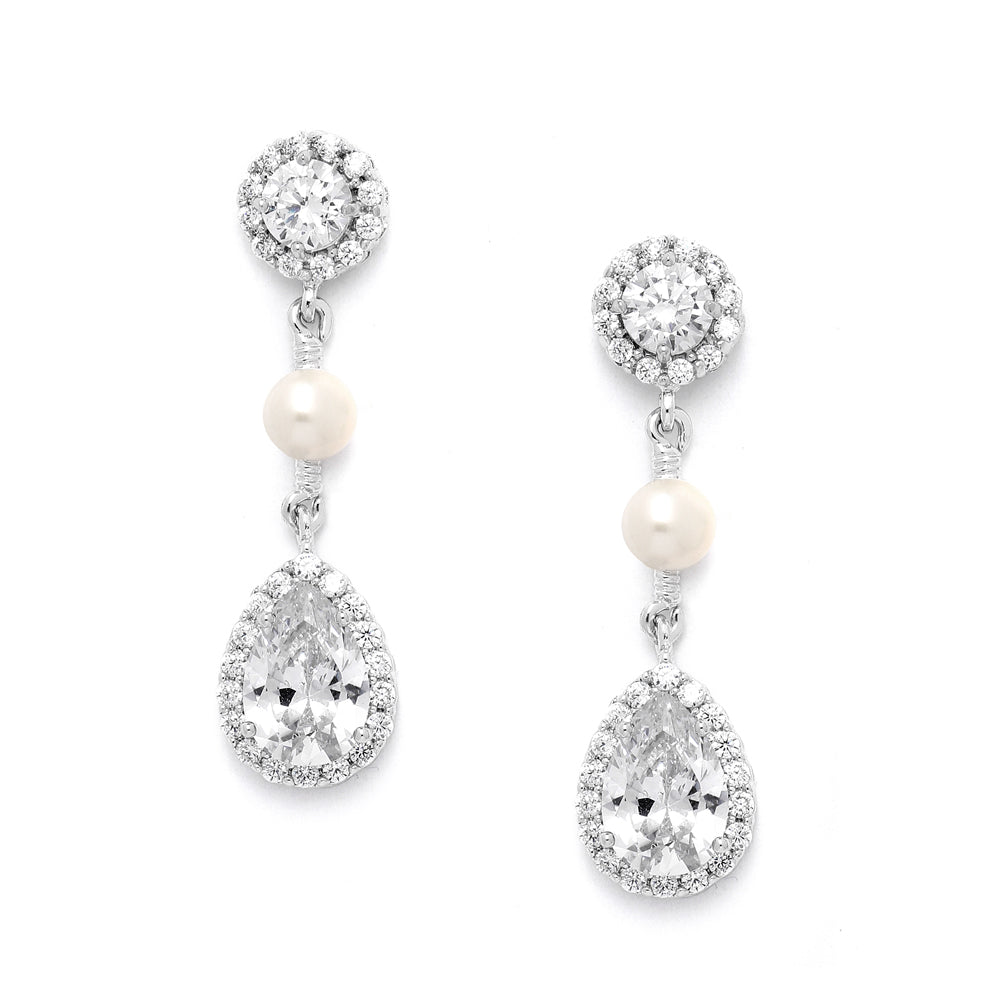 Cherish White Pearl and CZ Drop Earrings - JBP