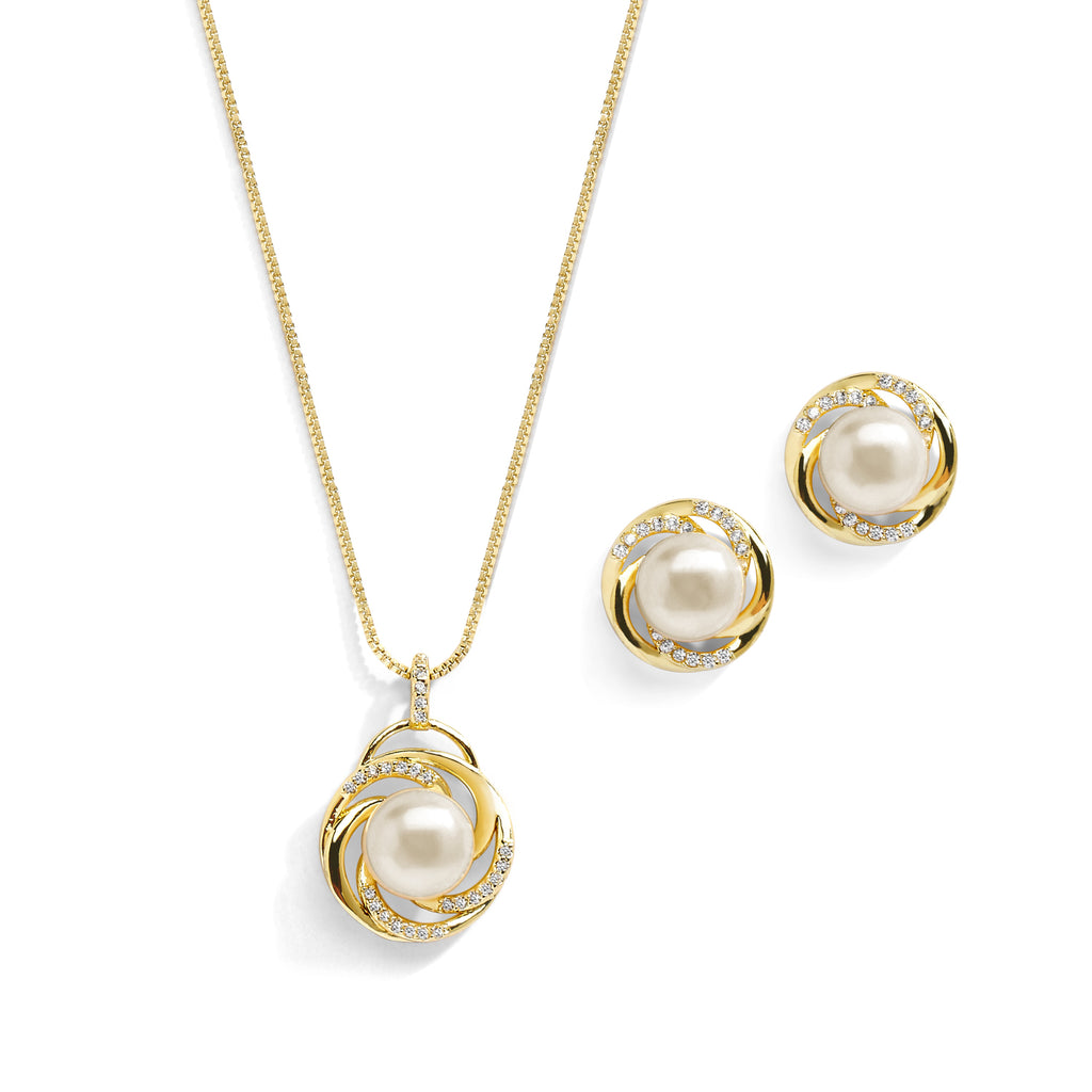 Pearl And CZ Pendant And Stylish Stud Earrings Set - JBP