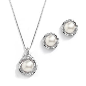 Pearl And CZ Pendant With Stud Earrings - JBP