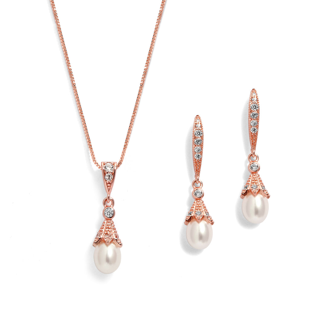 Pear Pearls And CZs Drop Earrings And Pendant Set - JBP