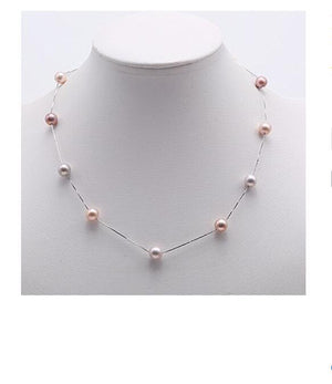 "Sterling ""Tin Cup"" Pearl Necklace - JBP"