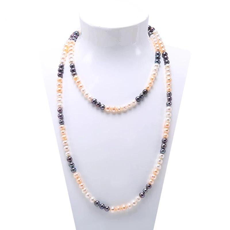 Long Strand Multi-Color Pearl Necklace - JBP