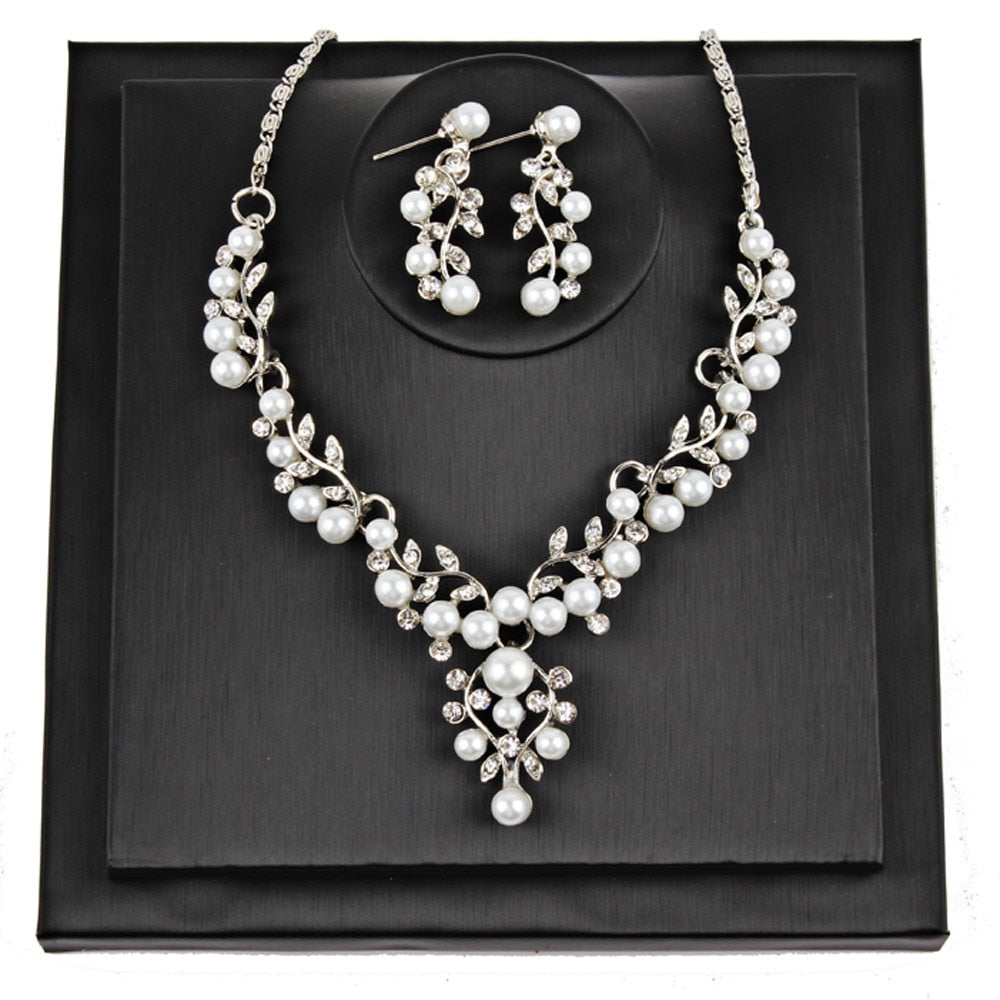 Bridal White Faux Pearl Earrings And Necklace Set - JBP