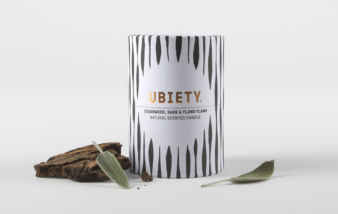 Ubiety's naturally scented candle, developed with Limelight Bath and Arcania Apothecary