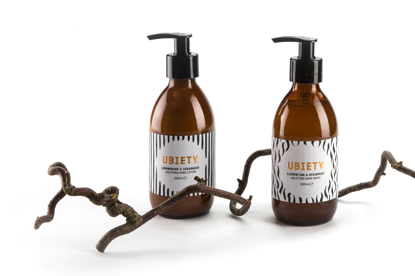 Our uplifting hand wash and soothing hand lotion