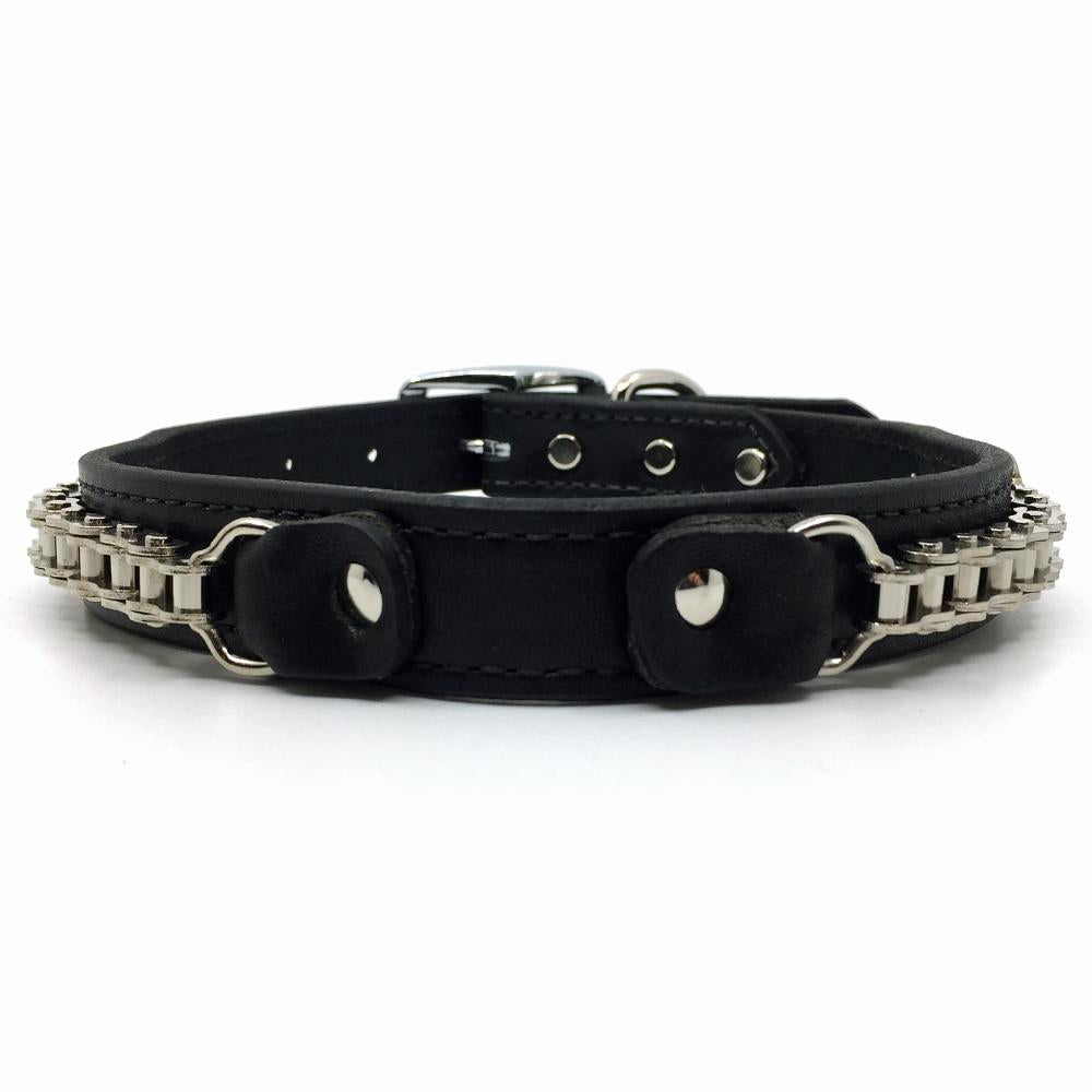 Bike Chain embellished black leather collar front view from Style Hound