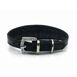 Black choker style leather collar with crystals  from Style Hound - back view