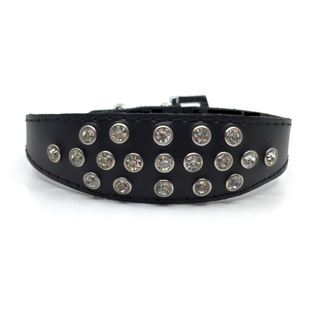 Black choker style leather collar with crystals  from Style Hound - front view