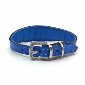 Blue choker style leather collar with crystals  from Style Hound - back view