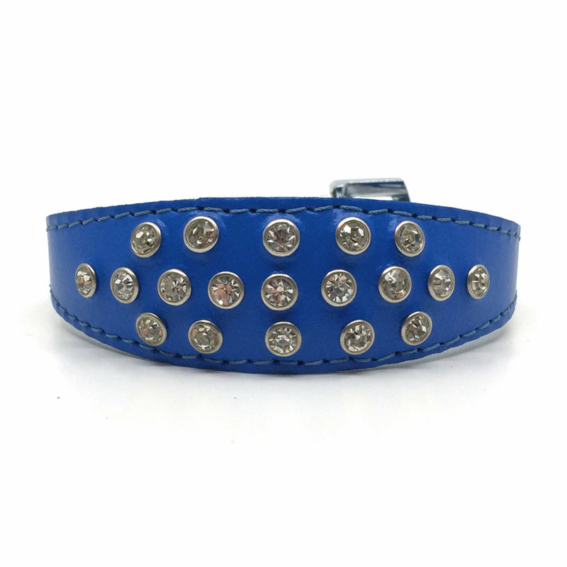 Blue choker style leather collar with crystals  from Style Hound - front view