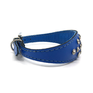 Blue choker style leather collar with crystals  from Style Hound - side view