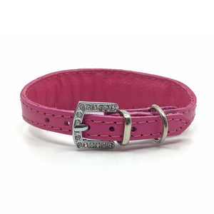 Pink choker style leather collar with crystals  from Style Hound - back view