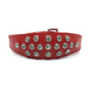 Red choker style leather collar with crystals  from Style Hound - front view