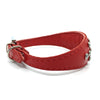 Red choker style leather collar with crystals  from Style Hound - side view