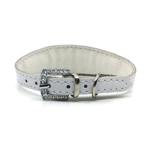 White choker style leather collar with crystals from Style Hound - back view