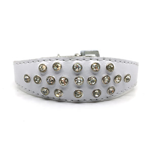 White choker style leather collar with crystals  from Style Hound - front view