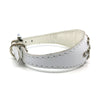 White choker style leather collar with crystals from Style Hound - side view