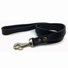 Classic thick flat soft black leather lead from Style Hound - front view