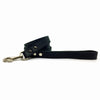 Classic thick flat soft black leather lead from Style Hound - side view
