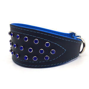 Wide black tapered leather collar with soft blue leather lining and blue crystals from Style Hound - side view