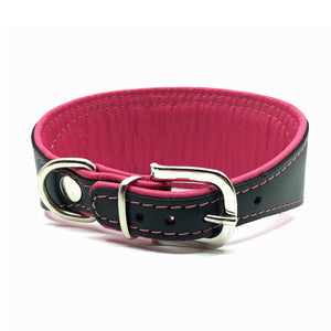 Wide black tapered leather collar with soft pink leather lining and pink crystals from Style Hound - back view