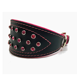 Wide black tapered leather collar with soft pink leather lining and pink crystals from Style Hound - side view