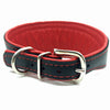Wide black tapered leather collar with soft red leather lining and red crystals from Style Hound - back view