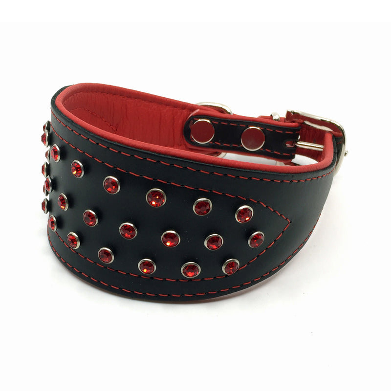 Wide black tapered leather collar with soft red leather lining and red crystals from Style Hound - front view